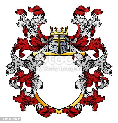 istock Coat of Arms Crest Knight Family Heraldic Shield 1186135405