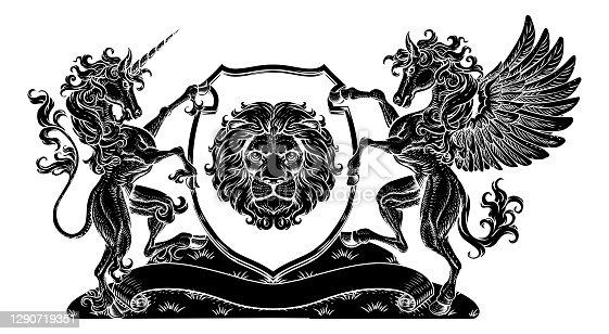 istock Coat of Arms Crest Pegasus Unicorn Lion Shield 1290719351