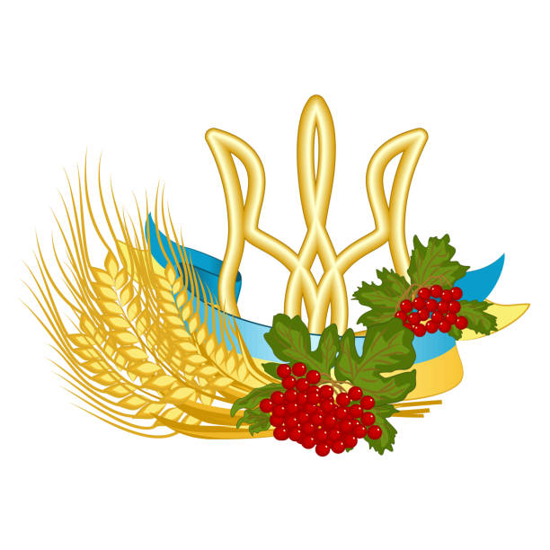 Coat of arms, flag, viburnum, and wheat - vector clipart of Ukrainian national symbols vector art illustration