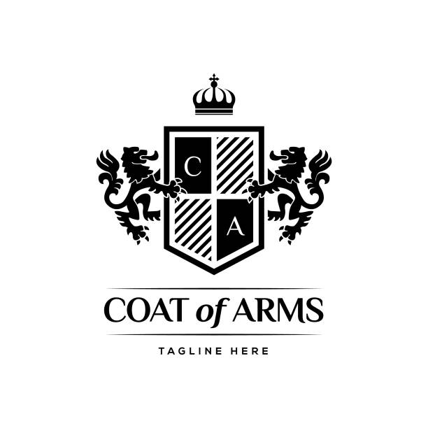 coat of arms heraldic luxury design concept - university stock illustrations, clip art, cartoons, & icons