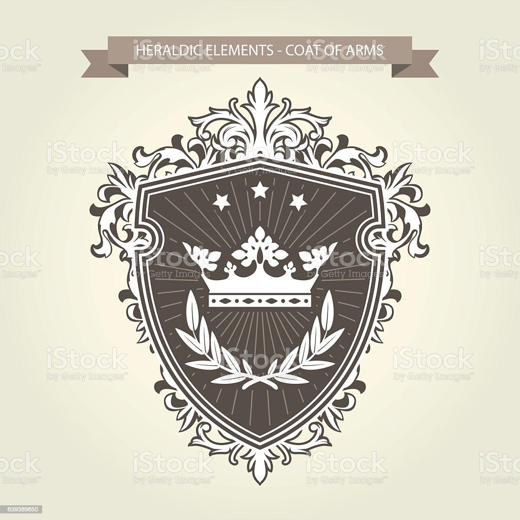 Coat of arms - medieval heraldry, shield  and crown - ilustração de arte em vetor