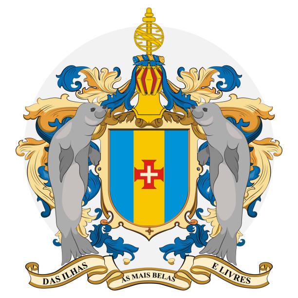ilustrações de stock, clip art, desenhos animados e ícones de coat of arms of madeira in portugal - funchal madeira