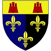 Coat of arms of Monmouthshire is a county in south-east Wales. Vector illustration