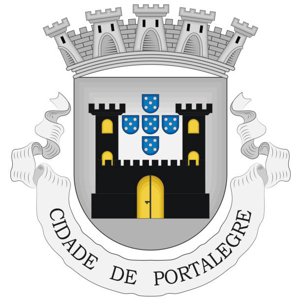 ilustrações de stock, clip art, desenhos animados e ícones de coat of arms of portalegre district in portugal - portalegre
