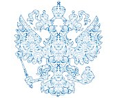 Coat of arms of Russia with blue pattern in traditional folk style Gzhel.