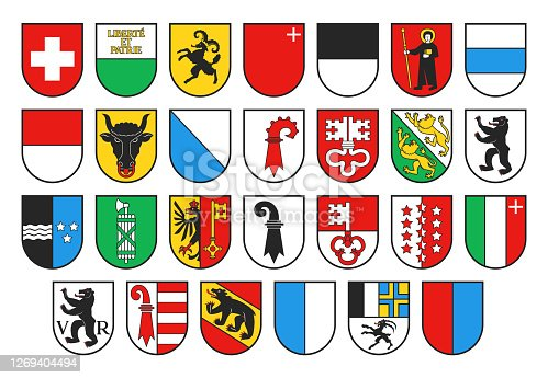 istock Coat of arms of Switzerland and Swiss cantons 1269404494