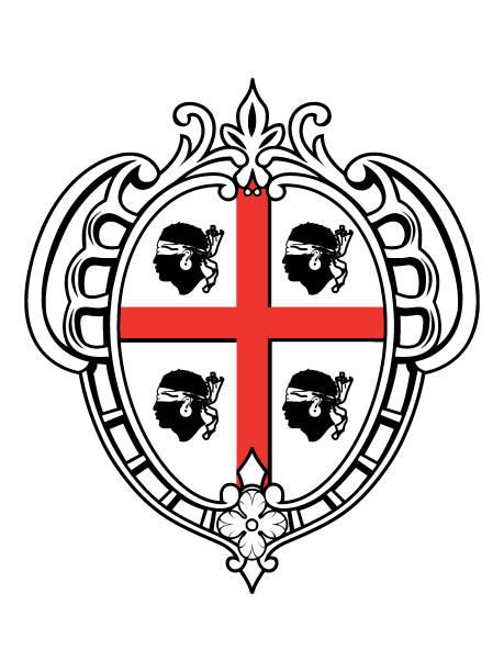 illustrazioni stock, clip art, cartoni animati e icone di tendenza di coat of arms of the italian region of sardinia - sardegna
