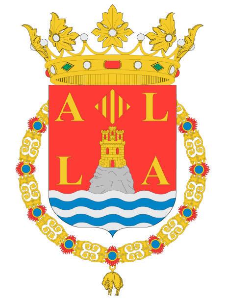 wappen der spanischen stadt alicante - alicante stock-grafiken, -clipart, -cartoons und -symbole