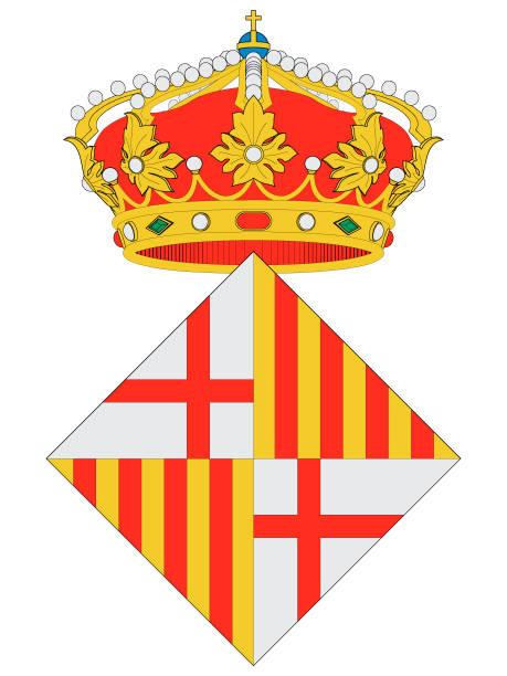wappen der spanischen stadt barcelona - alicante stock-grafiken, -clipart, -cartoons und -symbole