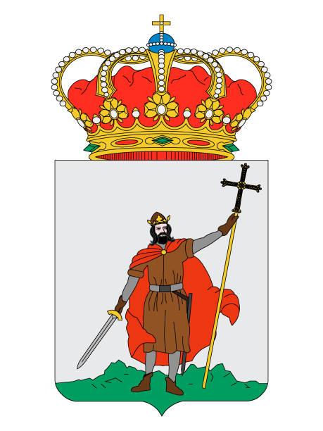wappen der spanischen stadt gijon - alicante stock-grafiken, -clipart, -cartoons und -symbole