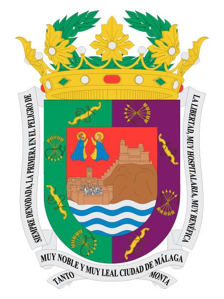 wappen der spanischen stadt malaga - alicante stock-grafiken, -clipart, -cartoons und -symbole