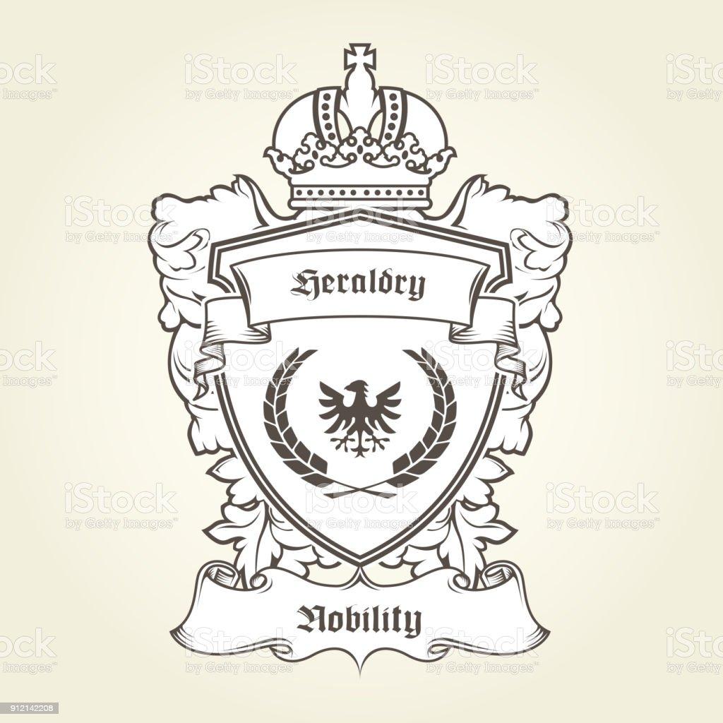 Wappen Der Vorlage Mit Heraldischen Adler Schild Krone Und Banner ...