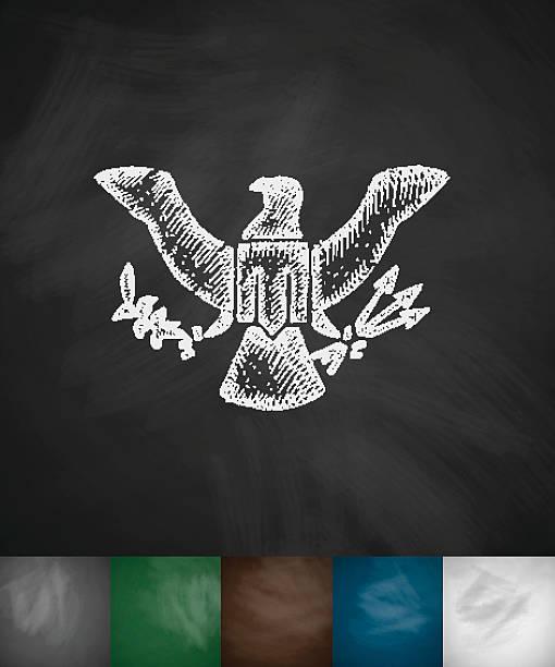 ilustraciones, imágenes clip art, dibujos animados e iconos de stock de escudo de armas icono de estados unidos. dibujado a mano ilustración de vectores - mount rushmore