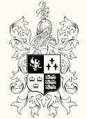 Black and white Coat of Arms with helmet and leafy scrollwork. Well organized file with clearly labeled layers. RGB Vector.