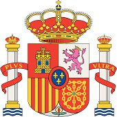 Highly detailed Spanish coat of arms isolated on white.