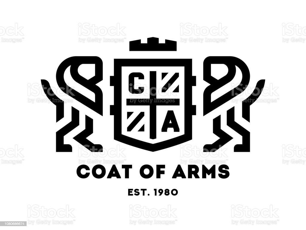 Brasão de armas com dois leões e um escudo. Ilustração em vetor. - ilustração de arte em vetor