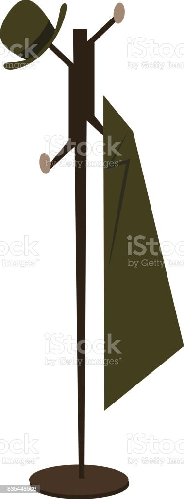 Coat Rack And Hanger Black Silhouette Vector Illustration Clothes