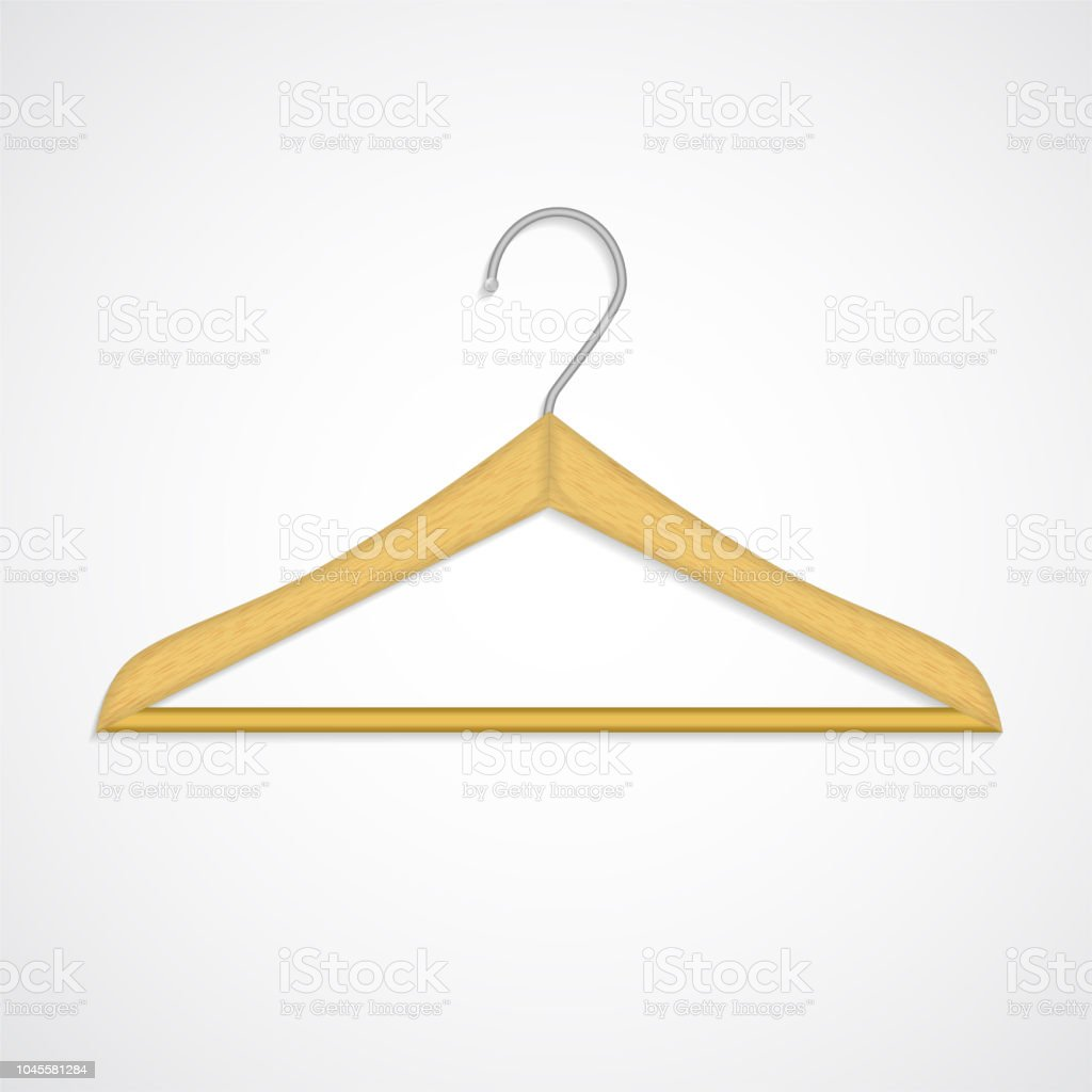Coat Rack Wooden Texture Realistic Wardrobe Vector Symbol Isolated