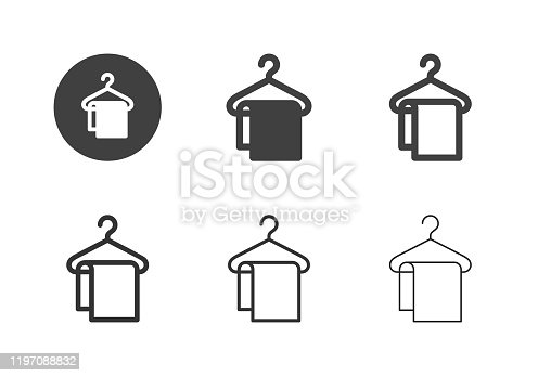 Coathanger with Towel Icons Multi Series Vector EPS File.