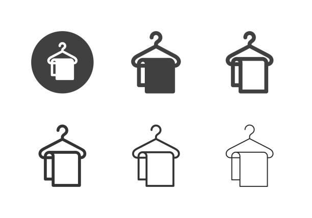 kleiderbügel mit handtuch-icons - multi-serie - waschküchendekorationen stock-grafiken, -clipart, -cartoons und -symbole