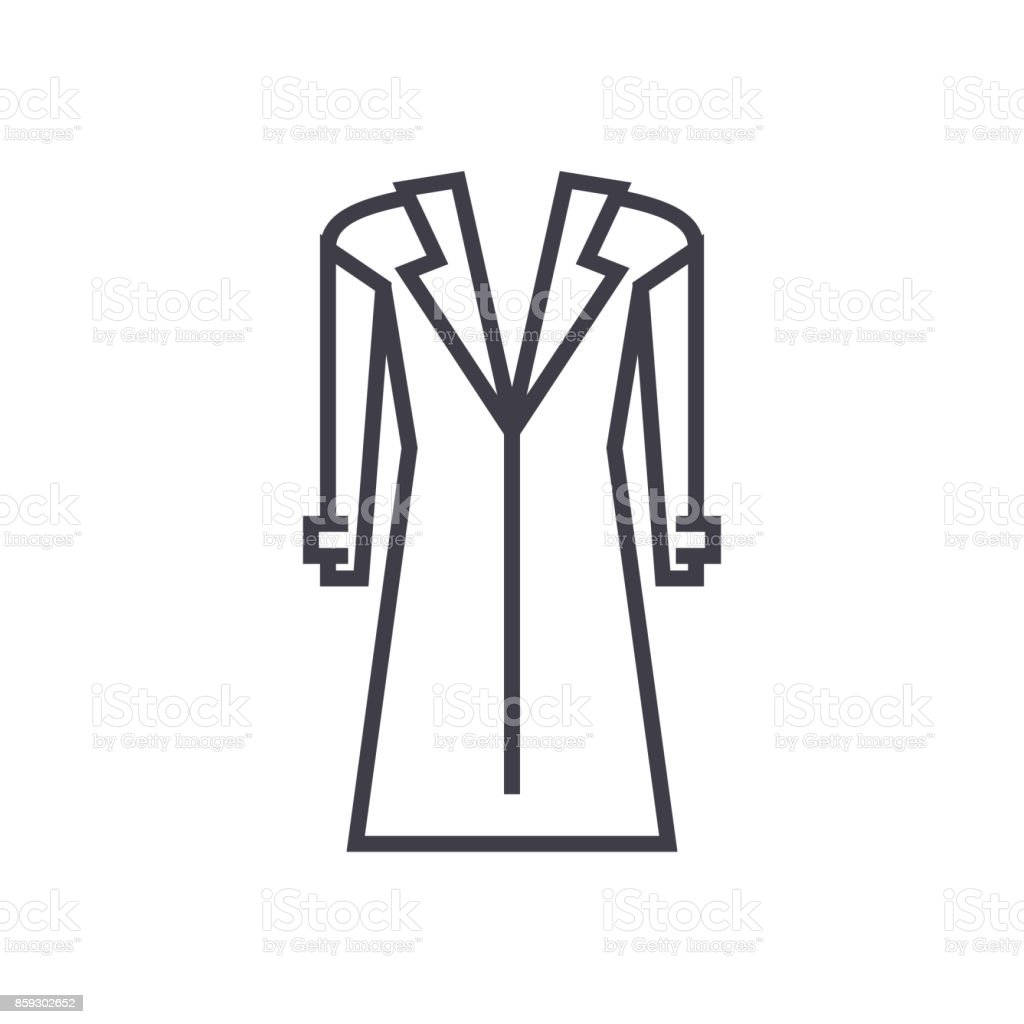coat,topcoat vector line icon, sign, illustration on background, editable strokes vector art illustration