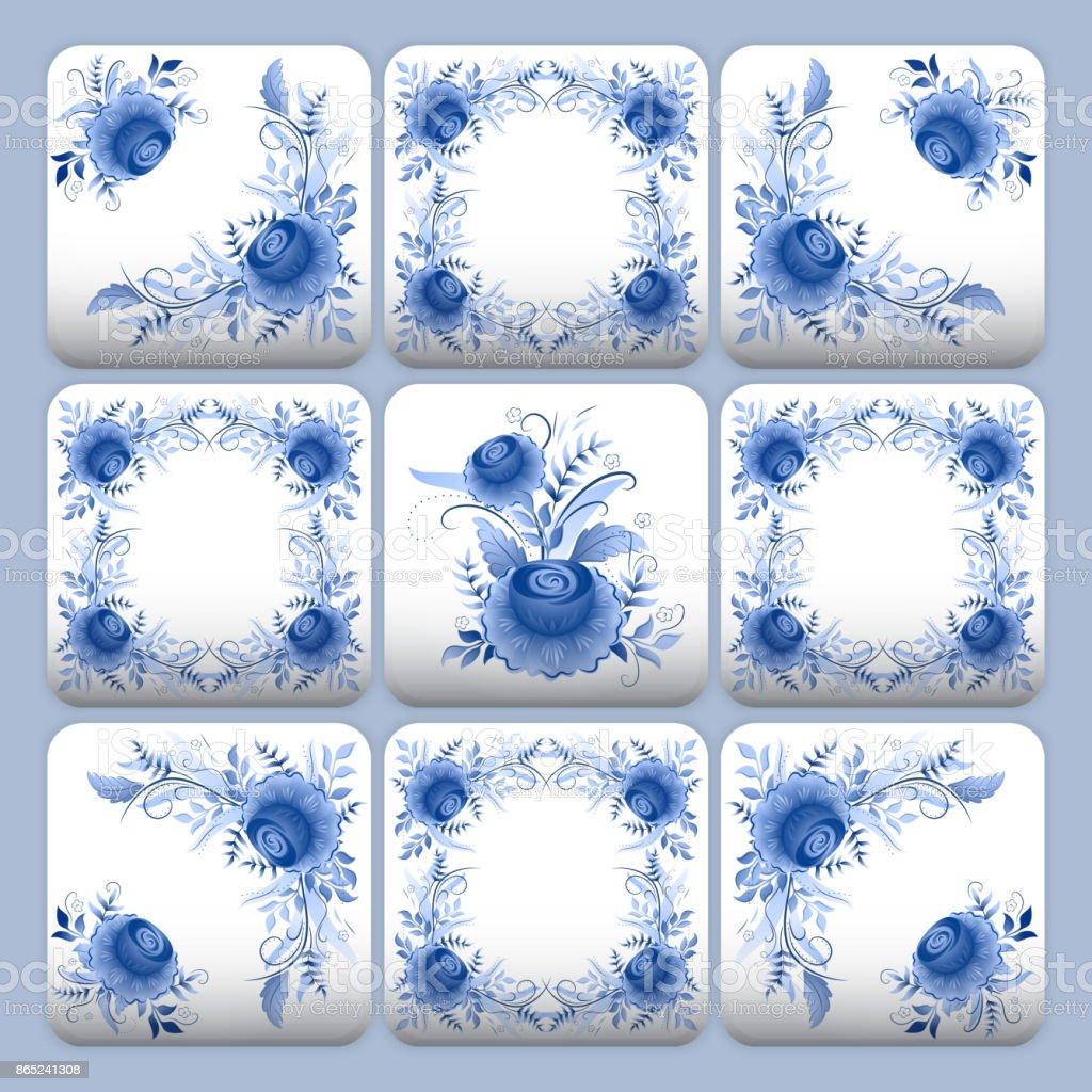 Cobalt blue flower pattern tiles vector art illustration
