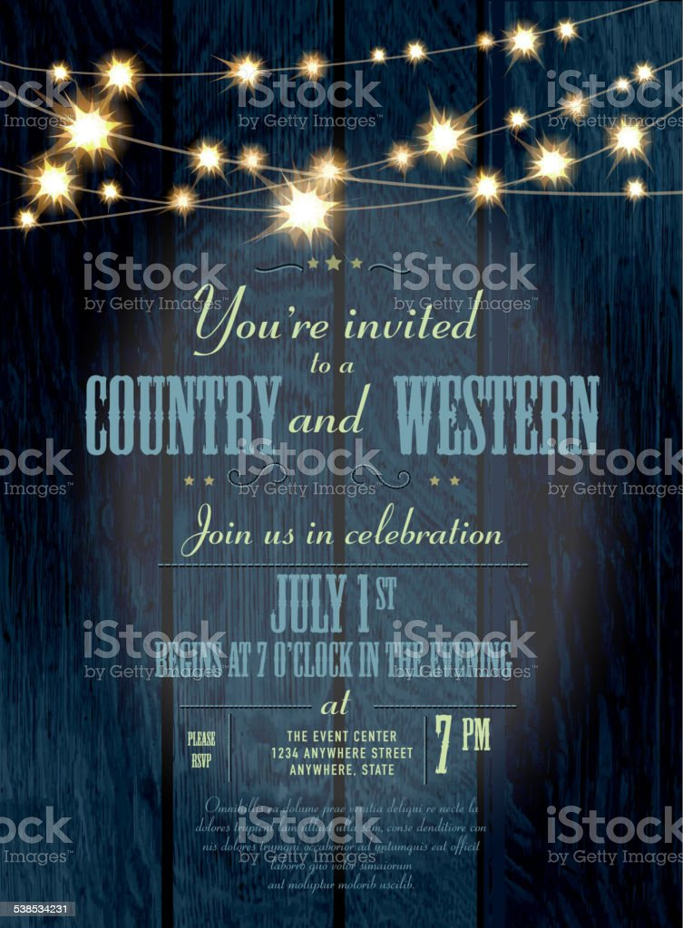 Cobalt Country and western invitation design template with string lights vector art illustration