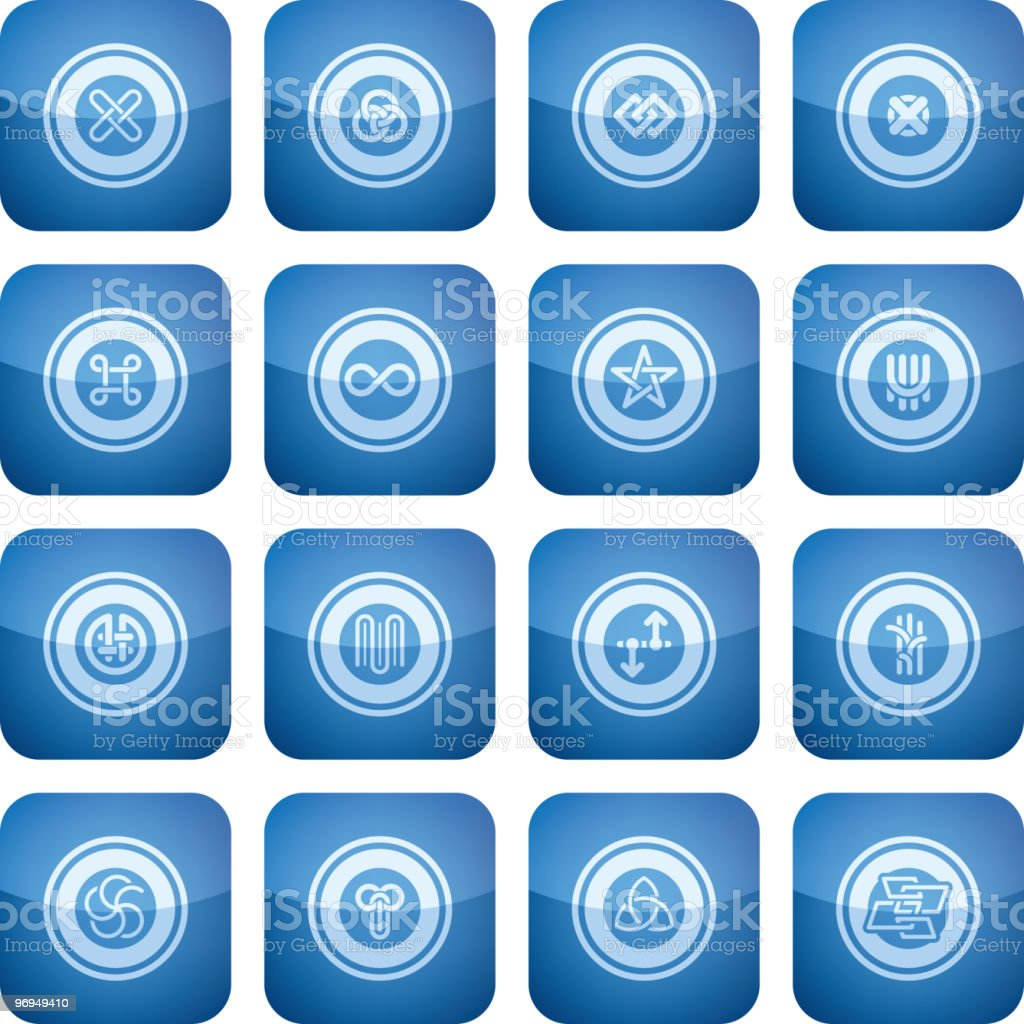 Cobalt Square 2D Icons Set: Abstract royalty-free cobalt square 2d icons set abstract stock vector art & more images of blue