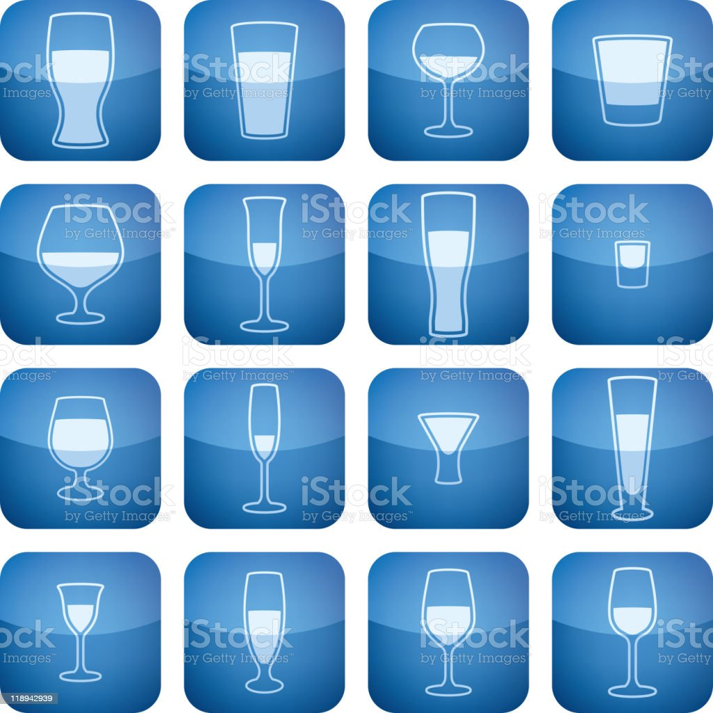 Cobalt Square 2D Icons Set: Alcohol glass vector art illustration