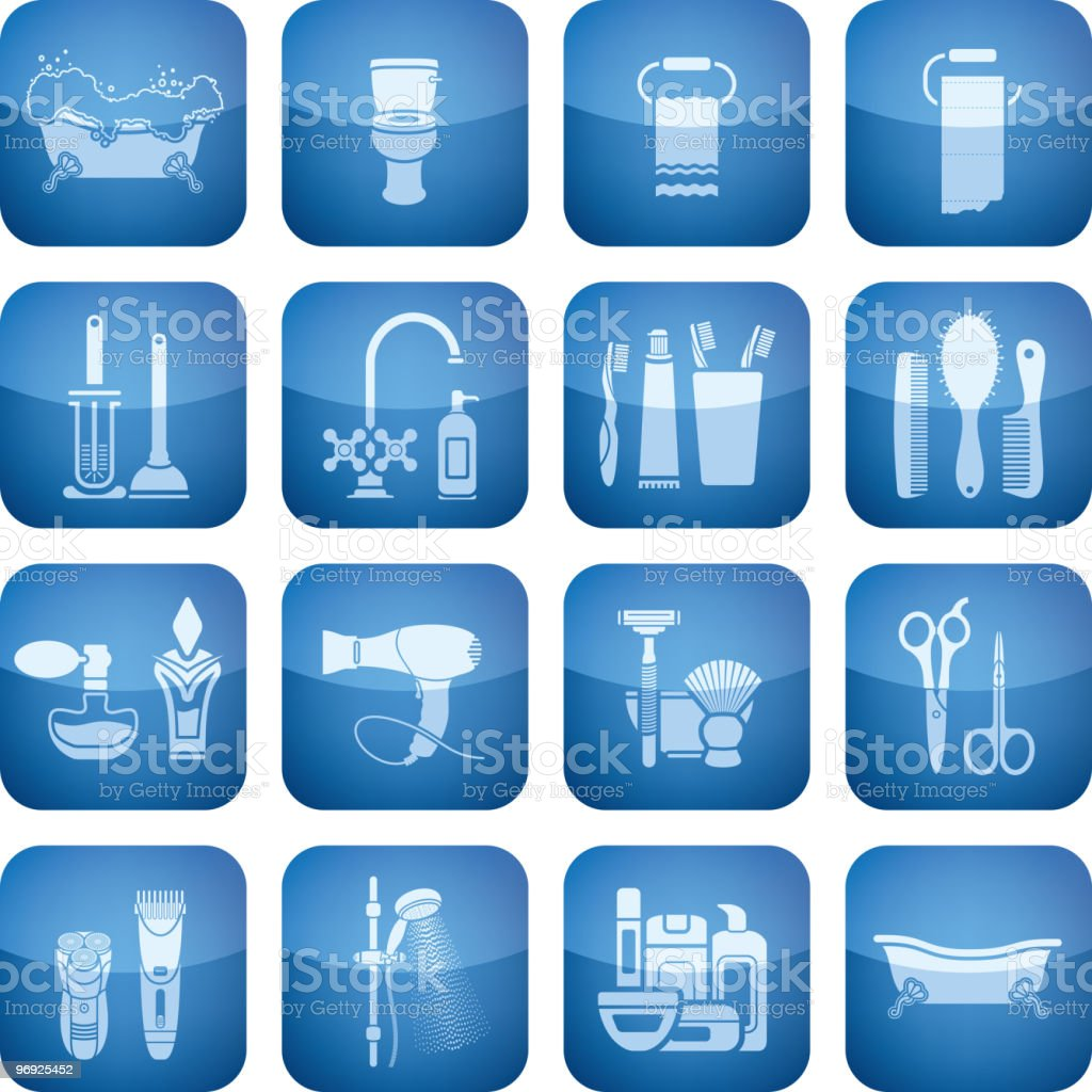 Cobalt Square 2D Icons Set: Bath royalty-free cobalt square 2d icons set bath stock vector art & more images of bathtub