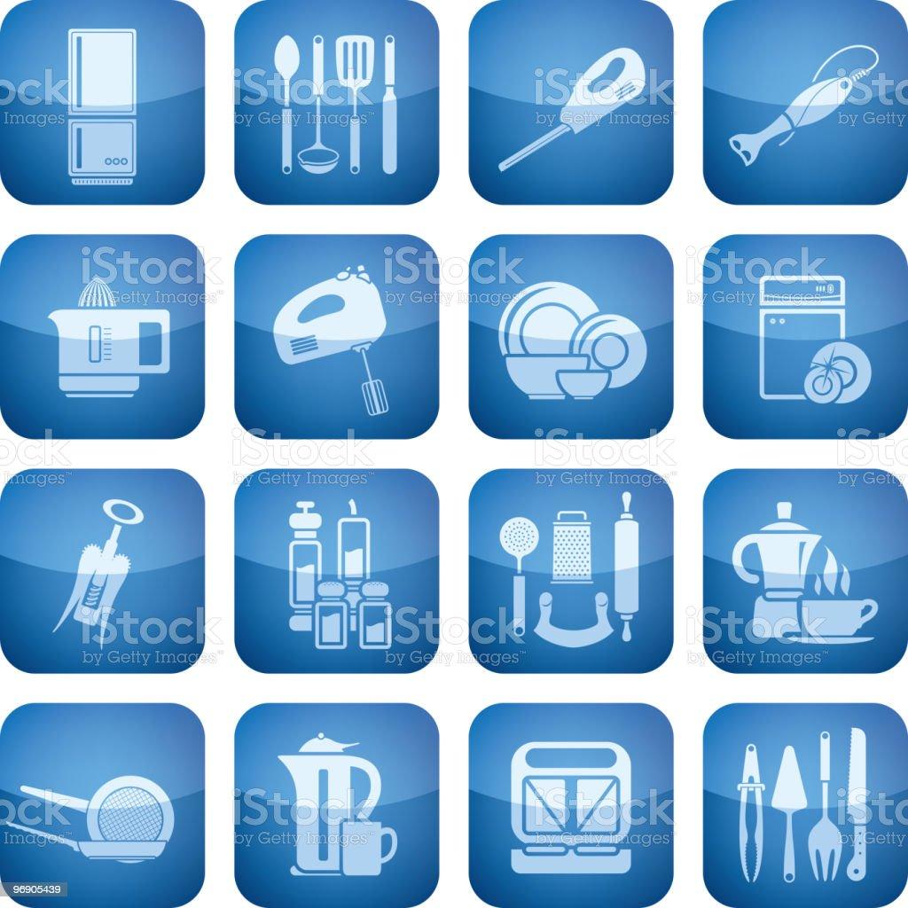 Cobalt Square 2D Icons Set: Kitchen utensils royalty-free cobalt square 2d icons set kitchen utensils stock vector art & more images of appliance