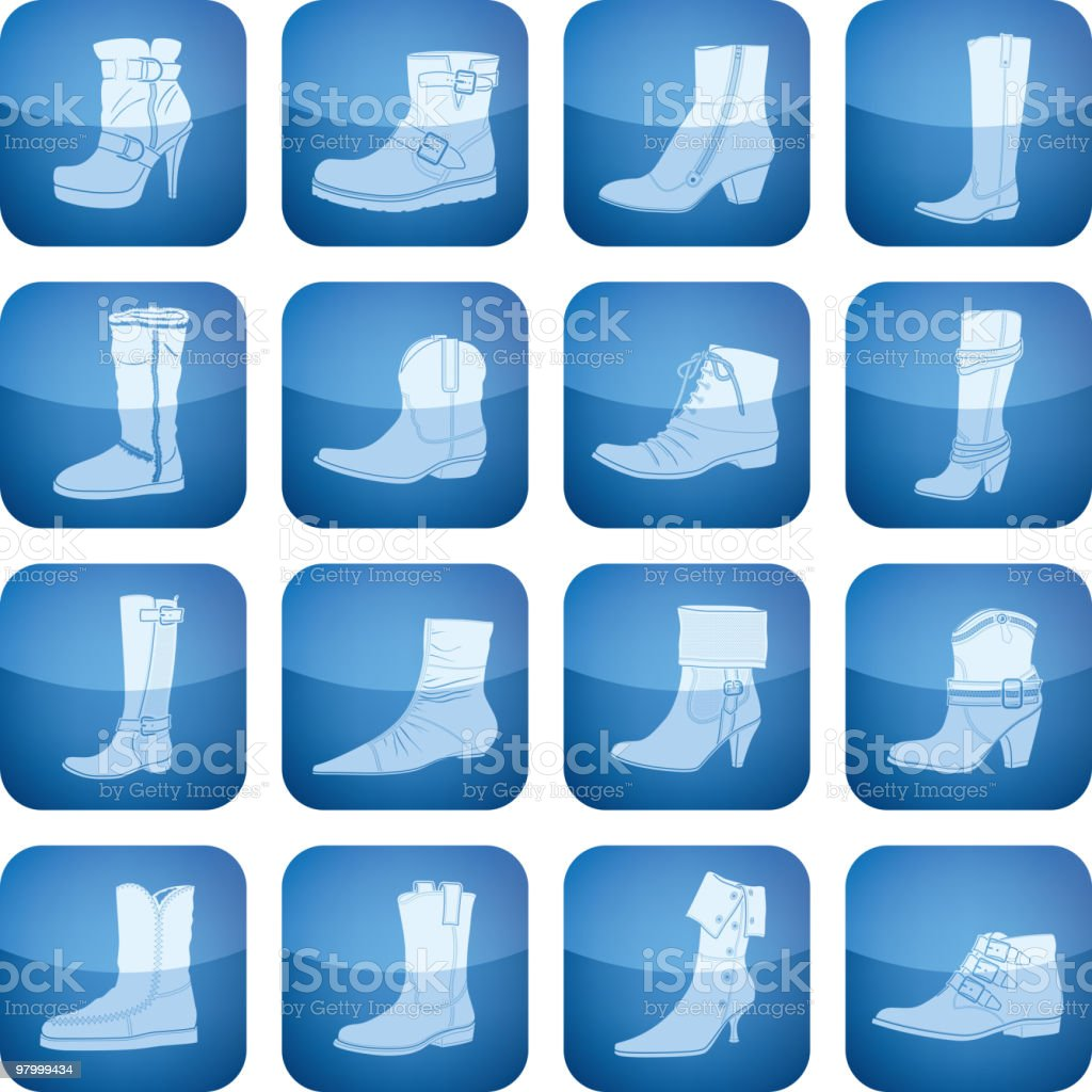 Cobalt Square 2D Icons Set: Woman's Shoes royalty-free cobalt square 2d icons set womans shoes stock vector art & more images of adult