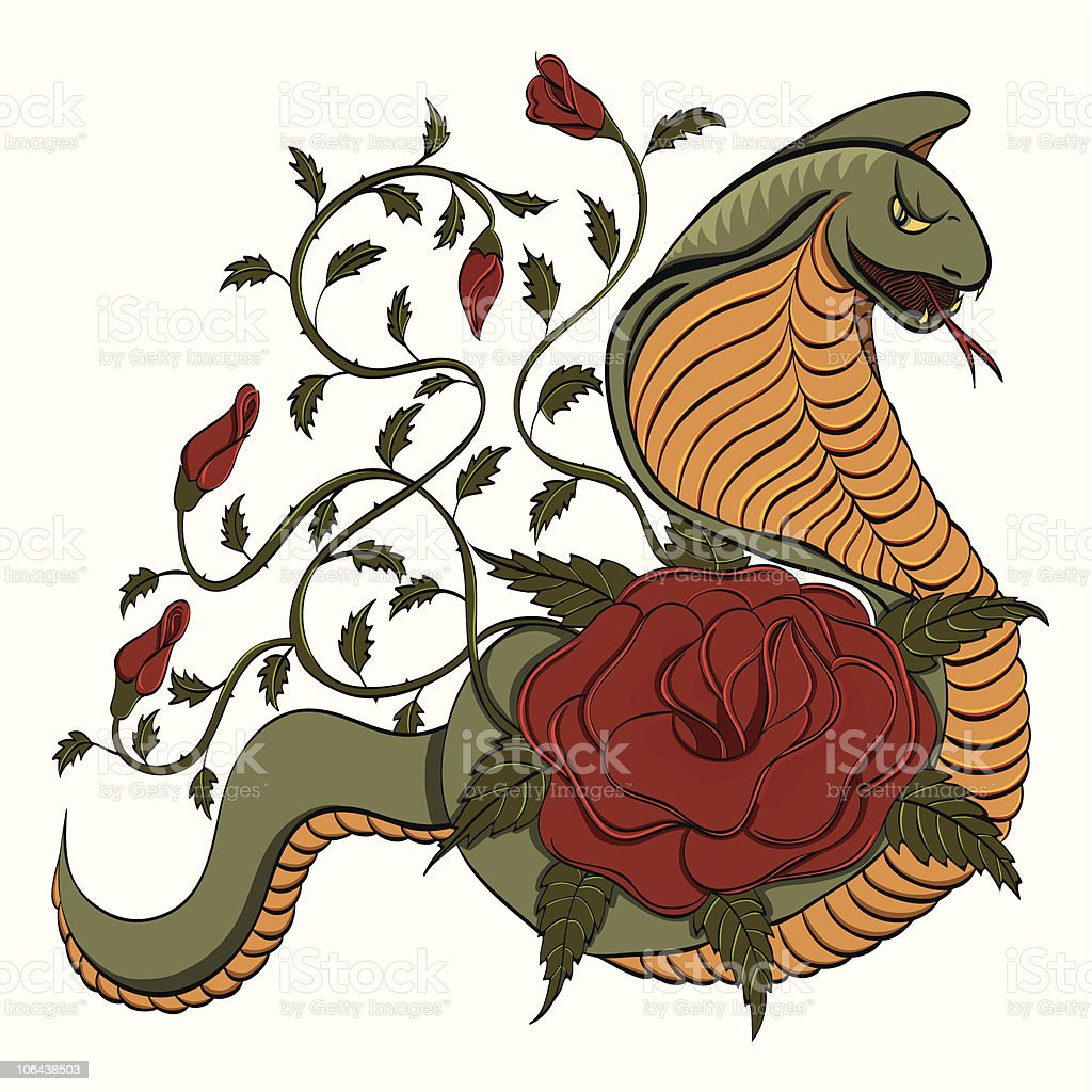 Cobra and roses tattoo - color version royalty-free stock vector art