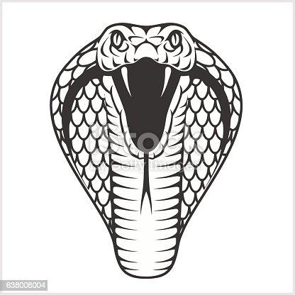 Cobra Head Black And White Illustration Stock Vector Art