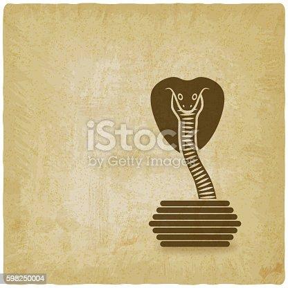 Cobra in basket old background. vector illustration - eps 10
