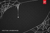 Creepy spider webs frame for Halloween party posters, web banners, cards, invitations.