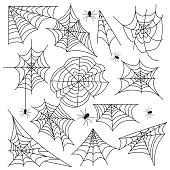 Cobweb set spider web halloween black vector insect design spiderweb horror danger trap scary silhouette arachnid illustration. Spooky fear thread animal line creepy hanging netting.