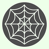 istock Cobweb solid icon. Spooky spider web glyph style pictogram on white background. Halloween magic sign for mobile concept and web design. Vector graphics. 1210781584