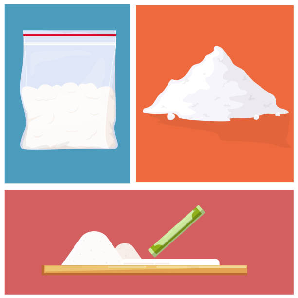 Cocaine pile and plastic bag Cocaine pile and plastic bag cocaine stock illustrations
