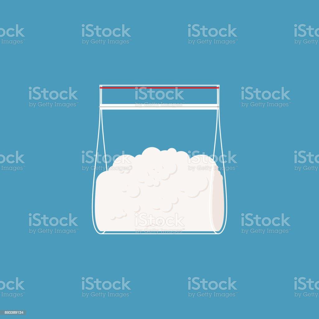 Cocaine plastic bag isolated. Drugs  in sachet. Vector illustration vector art illustration