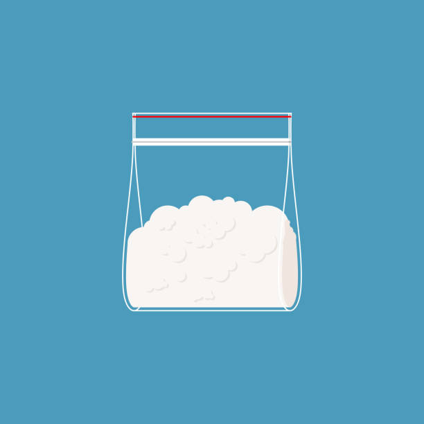 Cocaine plastic bag isolated. Drugs  in sachet. Vector illustration Cocaine plastic bag isolated. Drugs  in sachet. Vector illustration cocaine stock illustrations