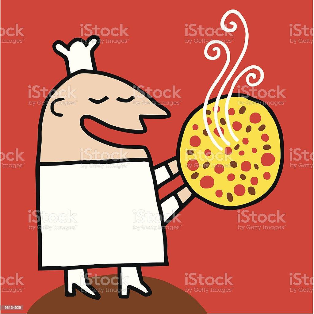 Cocinero ofrece una pizza caliente royalty-free cocinero ofrece una pizza caliente stock vector art & more images of cartoon