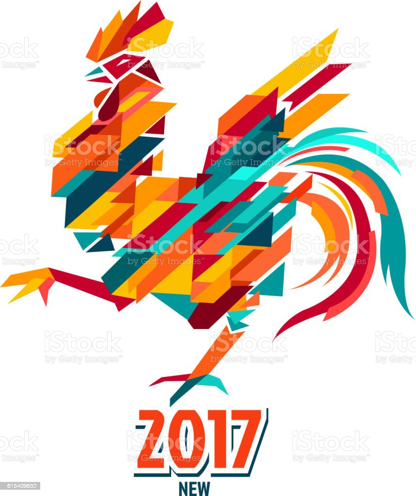 Cock 2017 vector art illustration