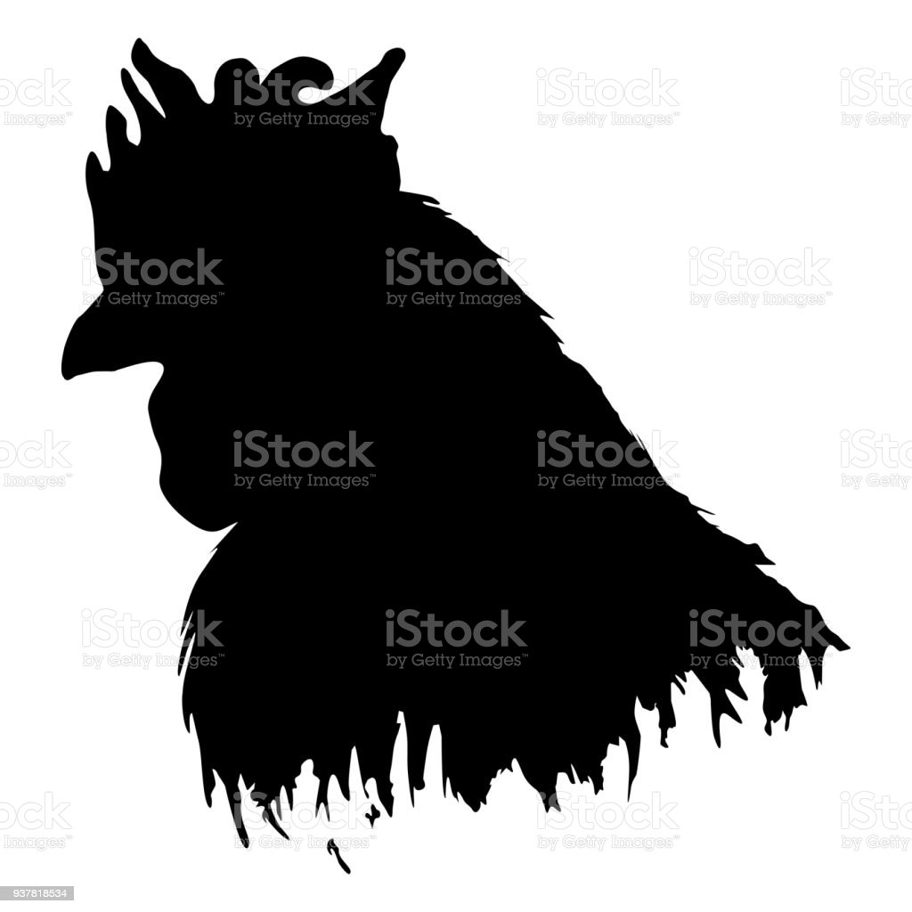 Cock rooster farm bird animal silhouette contour black and white...