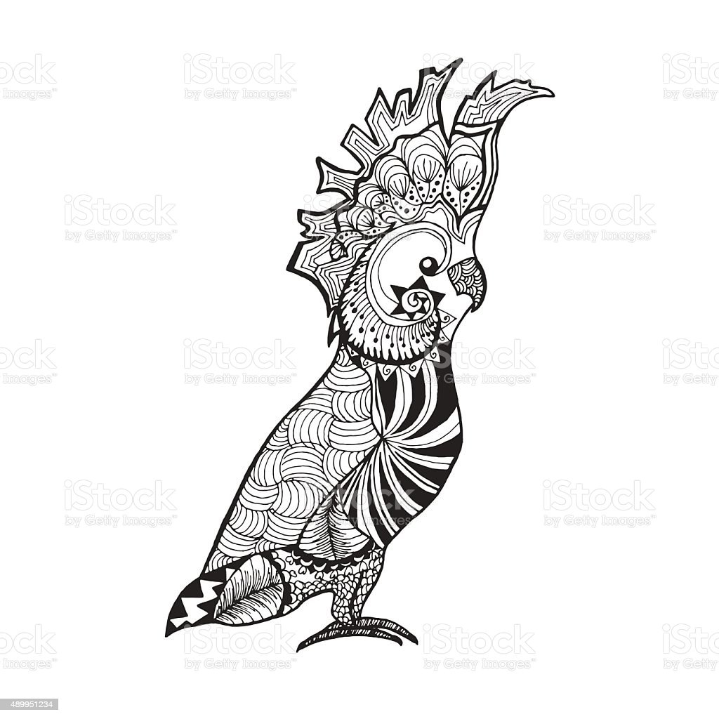 Cockatoo parrot. Sketch for tattoo or t-shirt vector art illustration