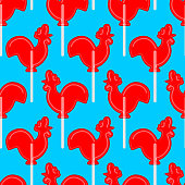 Cockerel candy seamless pattern. Caramel background. Sweet Christmas ornament. lollipop rooster sign for new year. lollipops Cock texture. Russian traditional folk sweets