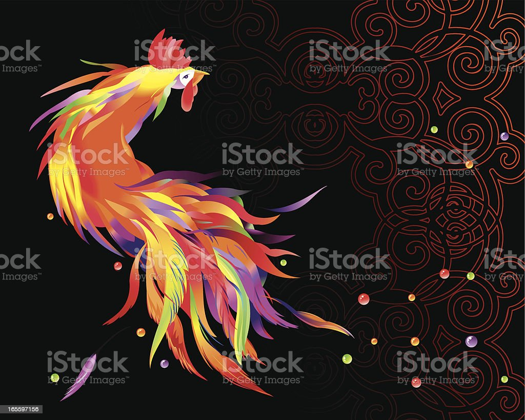 Cockerel on black vector art illustration