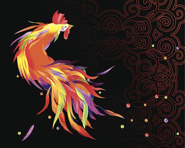 Cockerel on black vector art illustration