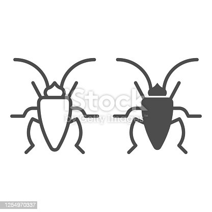 Cockroach line and solid icon, Insects concept, roach sign on white background, Cockroach silhouette icon in outline style for mobile concept and web design. Vector graphics