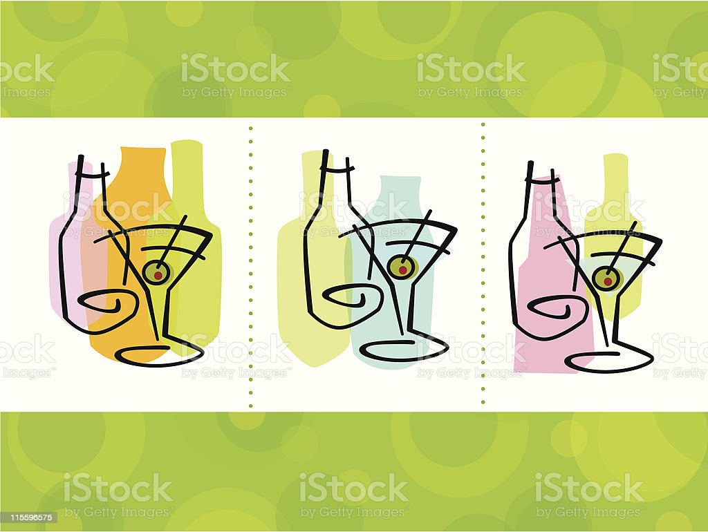 Cocktail Abstract Icons royalty-free cocktail abstract icons stock vector art & more images of 1950-1959
